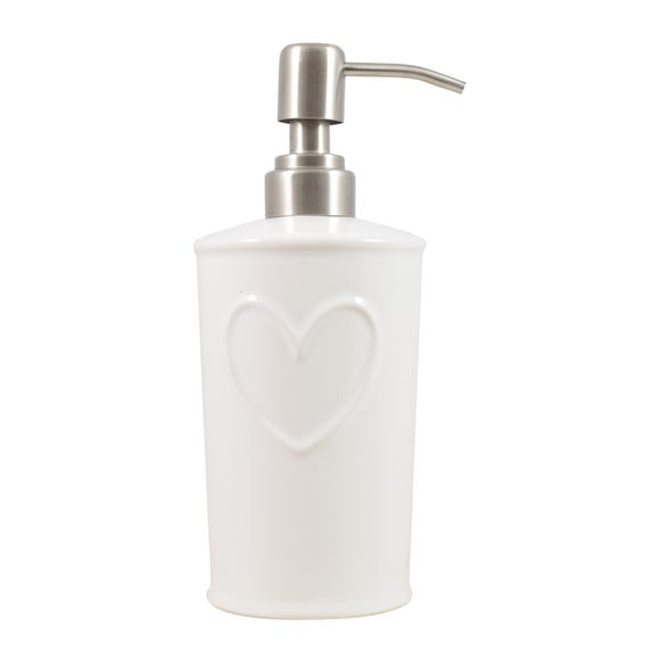 Country White Heart Lotion Dispenser White
