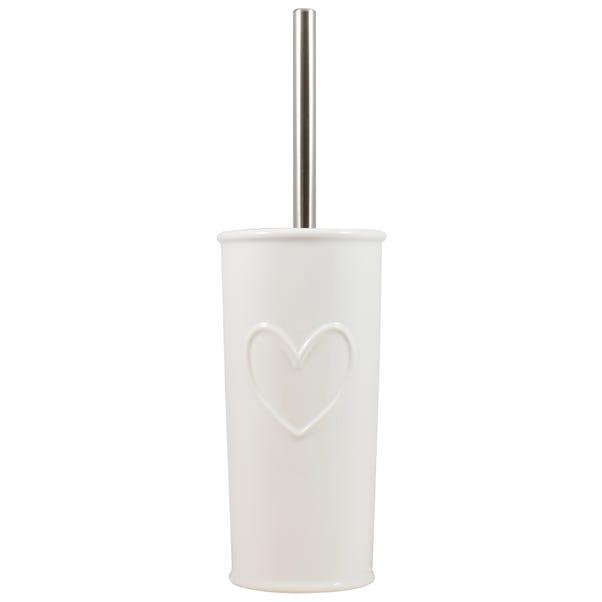 Country White Heart Toilet Brush Holder White