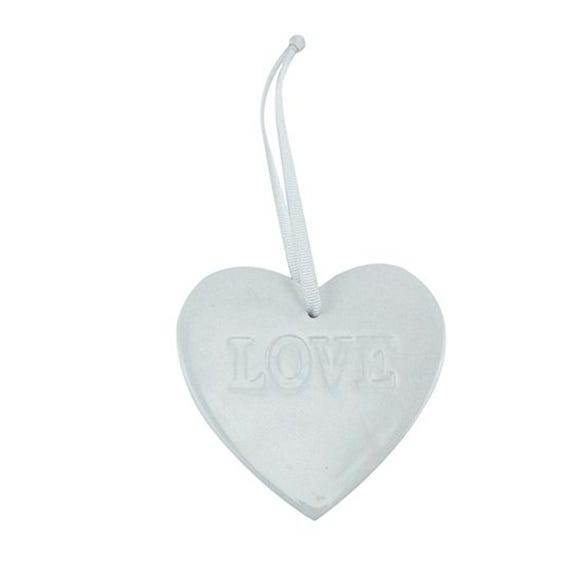 White Ceramic Hanging Heart White