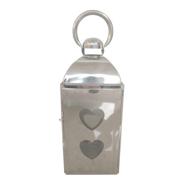 Silver Metal Heart Lantern Silver