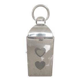 Silver Metal Heart Lantern