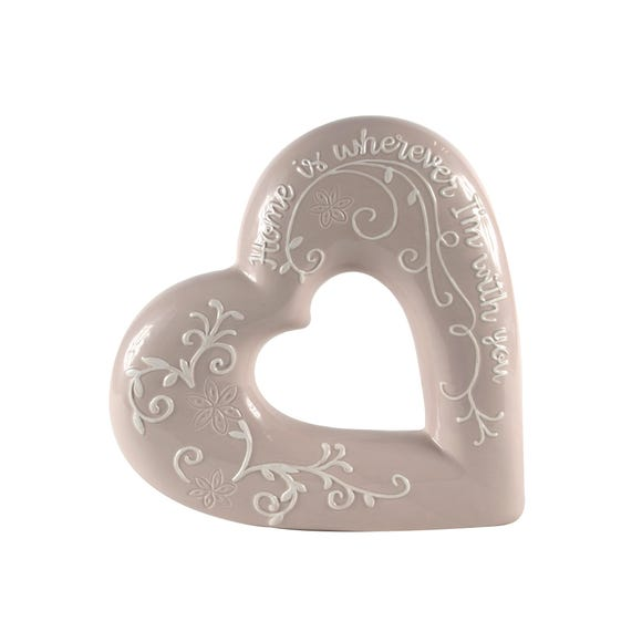 Mauve Embossed Heart Ornament Mauve