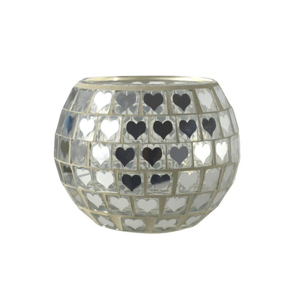 Mosaic Glass Tealight Holder Clear