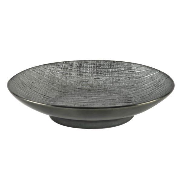 Metallic Grey Ceramic Ridged Bowl Gunmetal (Grey)