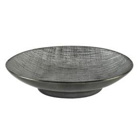Metallic Grey Ceramic Ridged Bowl