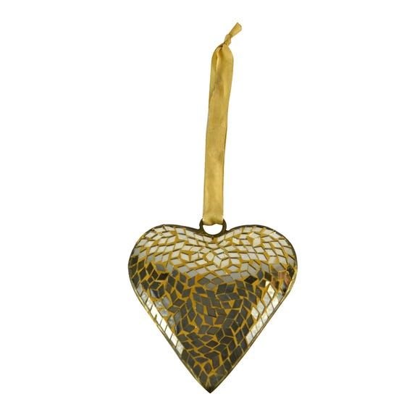 Gold Mosaic Hanging Heart Gold
