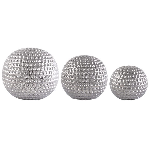 Set of 3 Silver Ceramic Dimpled Spheres Silver