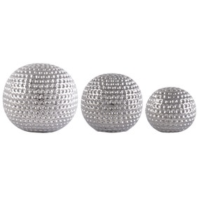 Set of 3 Silver Ceramic Dimpled Spheres