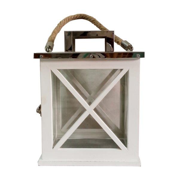 Small Wooden Lantern White