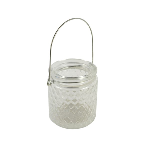 Clear Ribbed Glass Tea Light Holder Clear