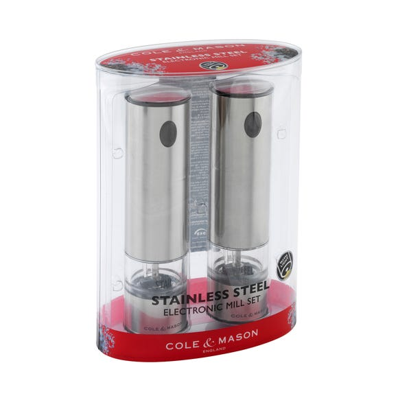 Cole & Mason Battersea Electronic Salt and Pepper Mill Set Stainless Steel