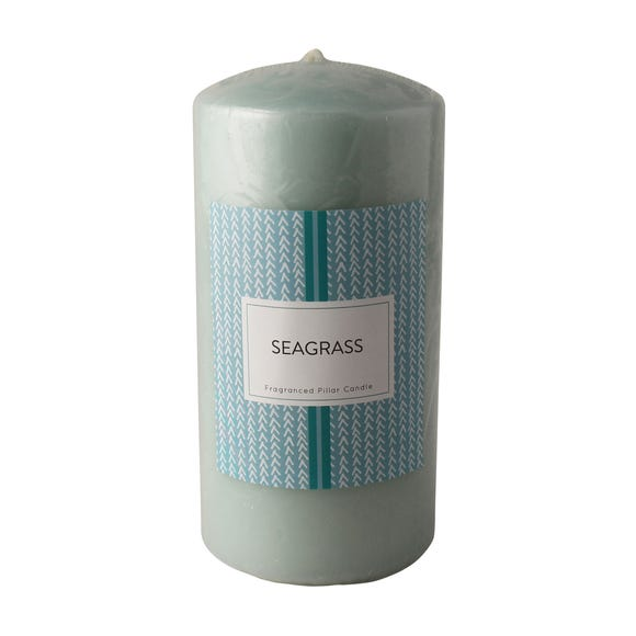 Seagrass Scented Pillar Candle Duck Egg (Blue)