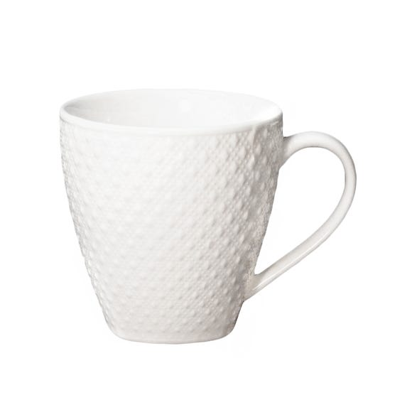 Embossed Diamond Dots Mug White