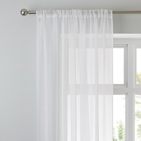 Aspen White Sheer Slot Top Single Voile Panel