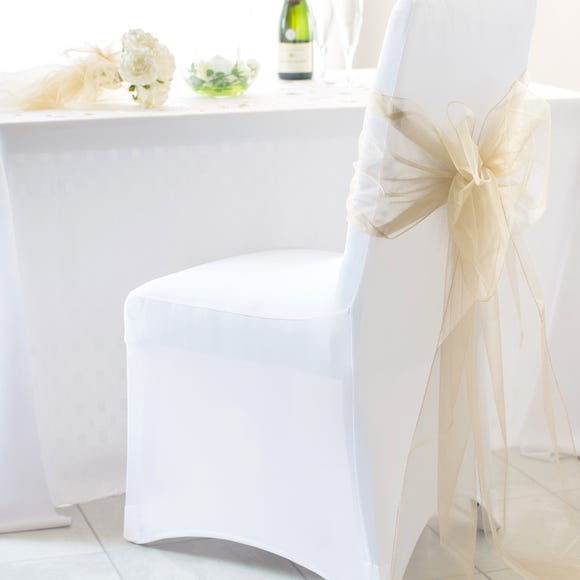 White Pack of 2 Stretch Chair Covers White