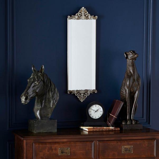 Ornate Wall Mirror 67x21cm Silver Silver