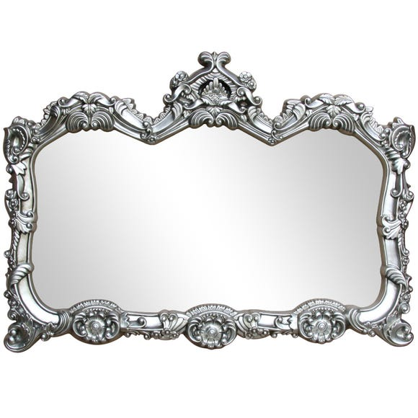 Ormolu Ornate Wall Mirror 85x117cm Silver Antique Silver undefined
