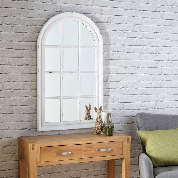 Arch Window Wall Mirror 102x61cm White White