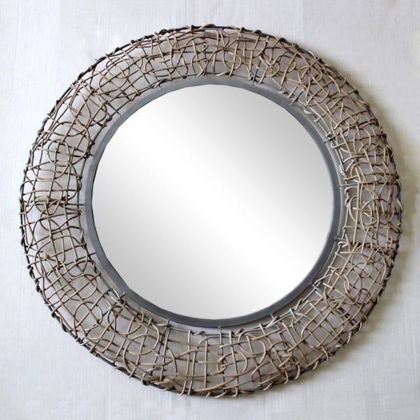 Wicker Wall Mirror 71cm Grey Grey