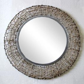 Wicker Wall Mirror 71cm Grey