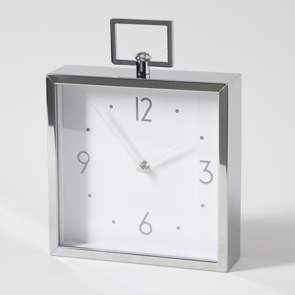 5A Fifth Avenue Metal Mantel Clock Silver
