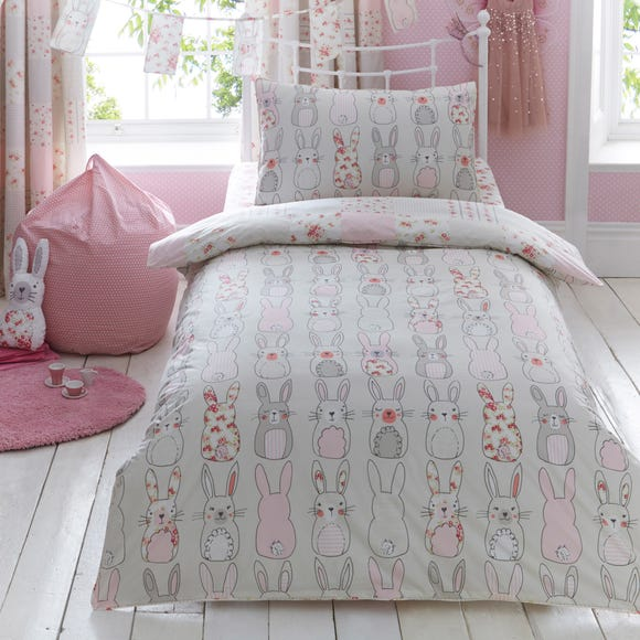 Katy Rabbit Duvet Cover and Pillowcase Set Pink undefined