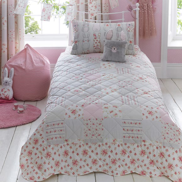 Katy Rabbit Bedspread Pink undefined