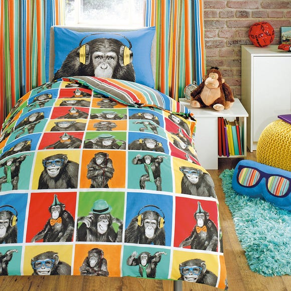 Monkeying Around Duvet Cover and Pillowcase Set MultiColoured undefined