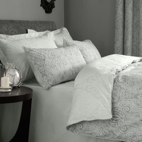 India Grey Reversible Duvet Cover and Pillowcase Set Grey undefined