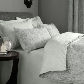 India Grey Reversible Duvet Cover and Pillowcase Set
