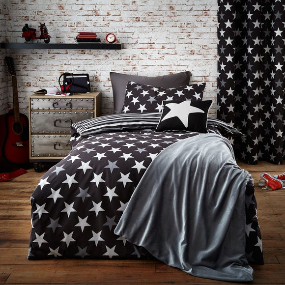 Stars and Stripes Black Duvet Cover and Pillowcase Set Black undefined
