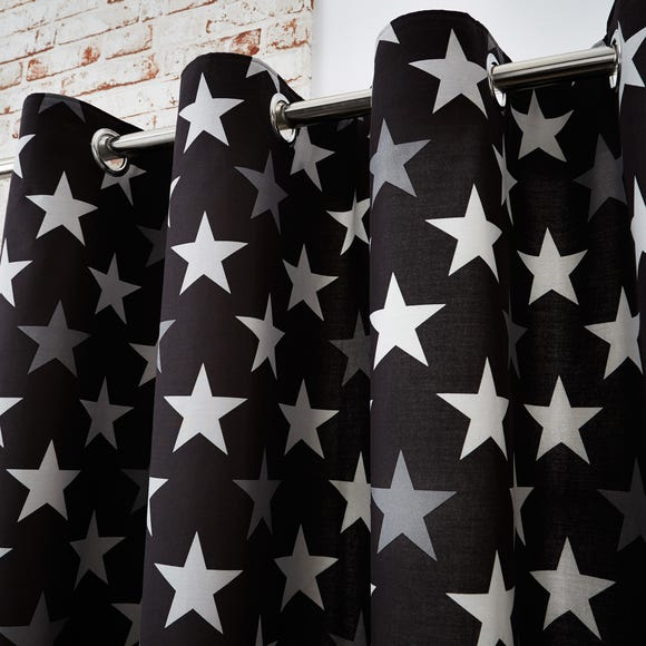 Stars Black Blackout Eyelet Curtains  undefined