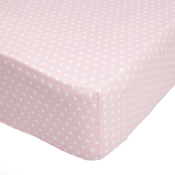 Fluffy Friends Pink Polka Dot 25cm Fitted Sheet Pink undefined