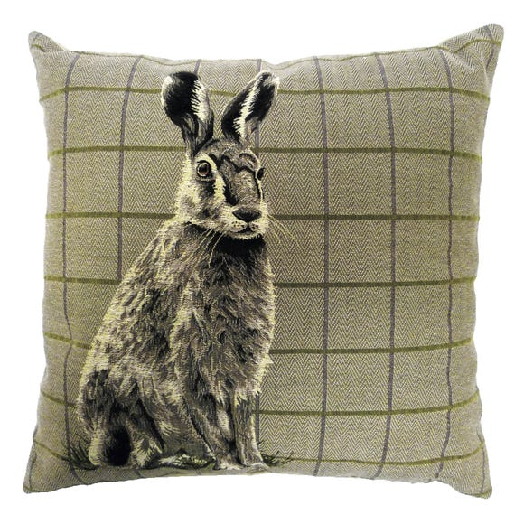 Hare Tapestry Cushion Beige