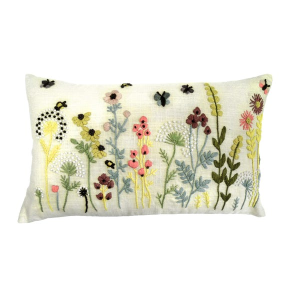 Country Fayre Embroidered Cushion Natural