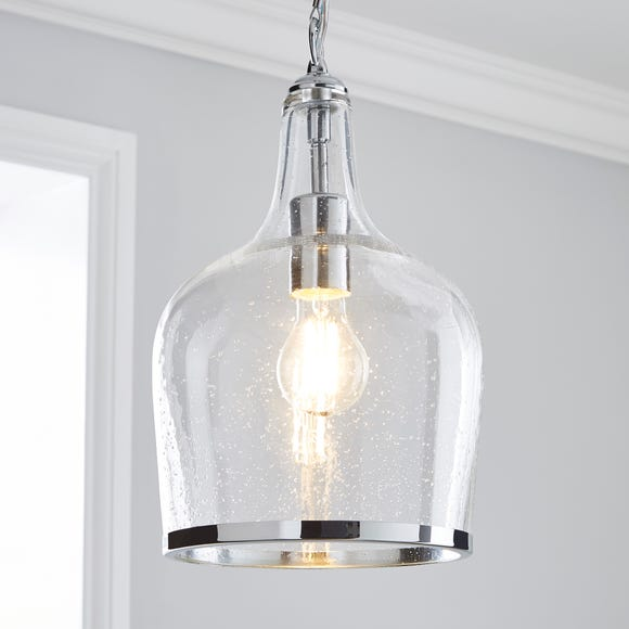Lenny 1 Light Pendant Glass Ceiling Fitting Silver