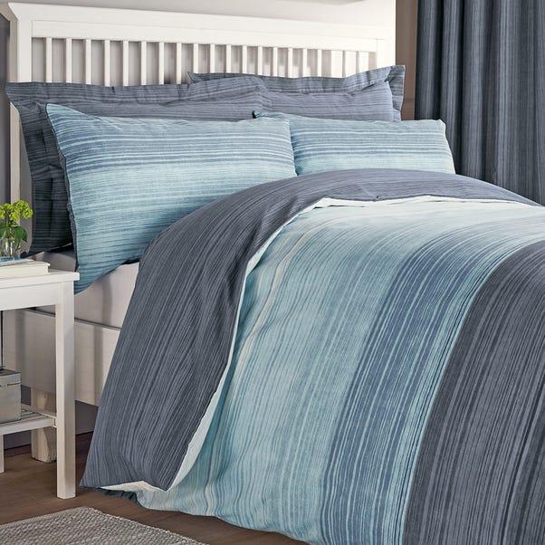 Halton Blue Reversible Duvet Cover and Pillowcase Set  undefined
