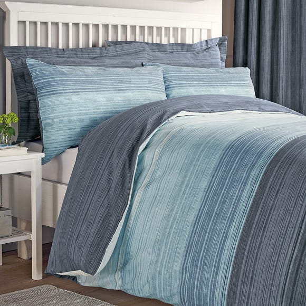 Halton Blue Reversible Duvet Cover and Pillowcase Set Blue undefined