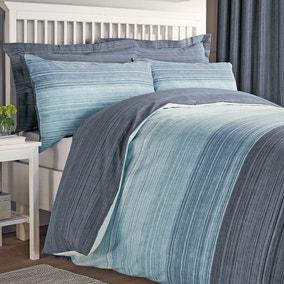 Halton Blue Reversible Duvet Cover and Pillowcase Set