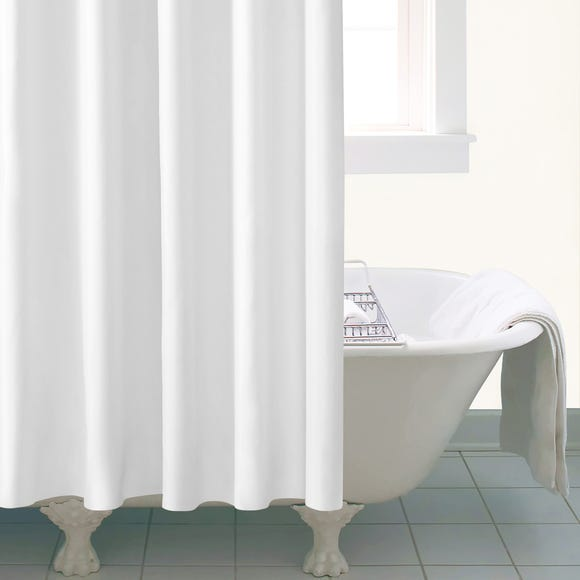 Ceramic Extra Long White Shower Curtain White
