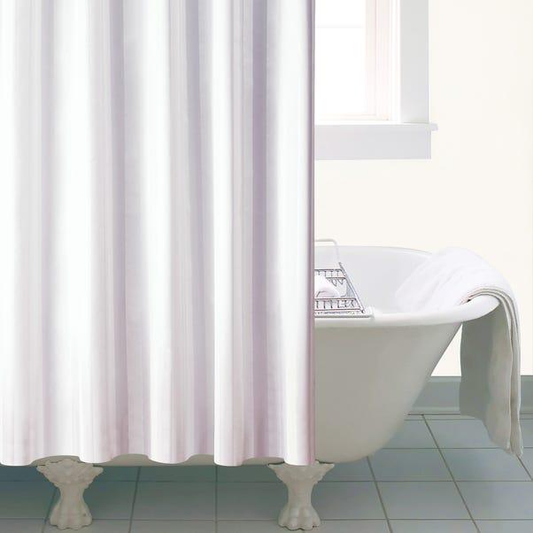 White Satin Stripe Shower Curtain White