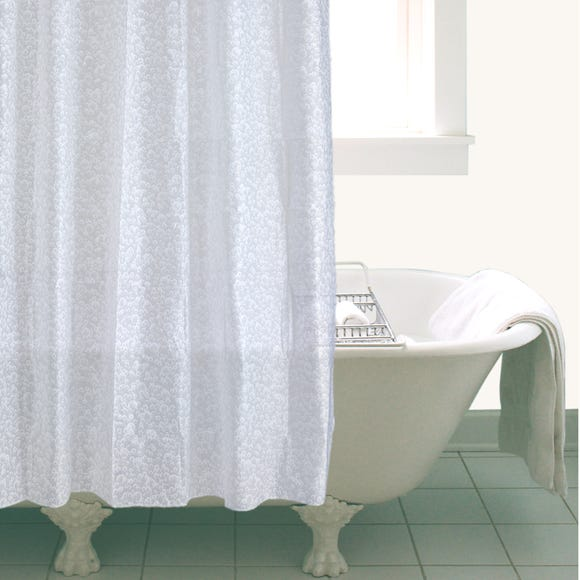 White Bubbles Shower Curtain White