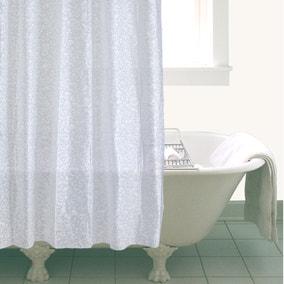 White Bubbles Shower Curtain