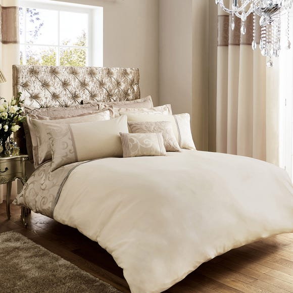 Lucia Embroidered Natural Duvet Cover  undefined