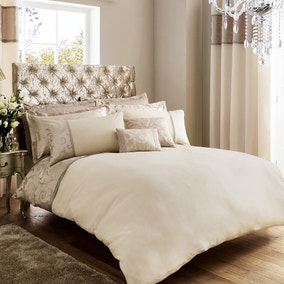 Lucia Embroidered Natural Duvet Cover