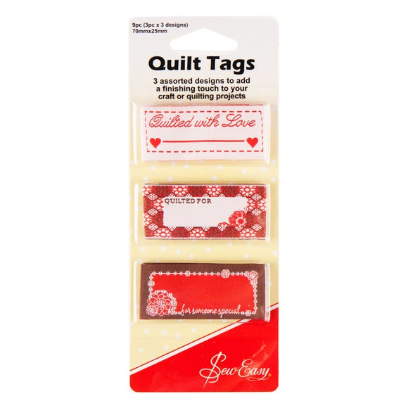 Sew Easy Pack of 9 Quilt Tags Red