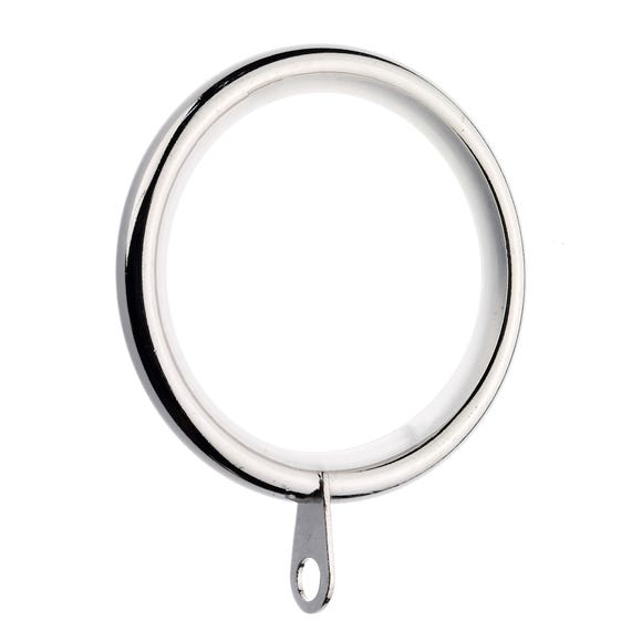 Pack of 6 Lined Metal Curtain Rings Dia. 28mm Satin Steel (Silver)