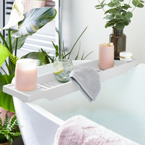 White Bamboo Bath Rack