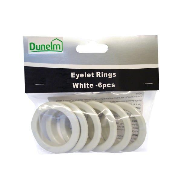 Pack of 6 Eyelet Rings White