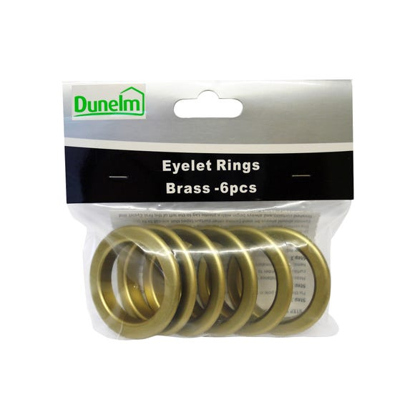 Pack of 6 Eyelet Rings Brass